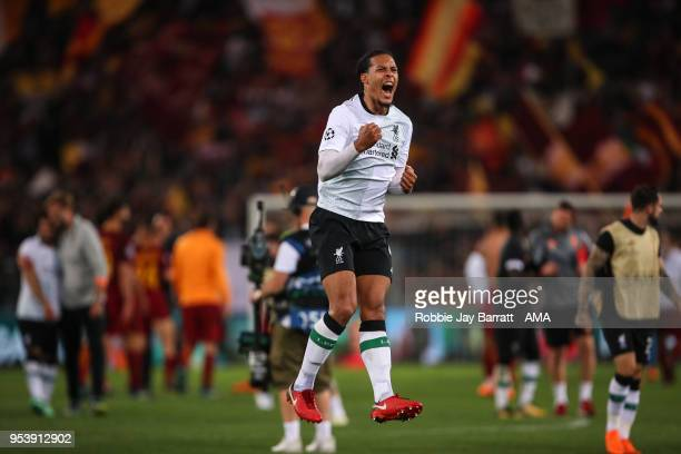 Virgil van Dijk of Liverpool celebrates at full time during the UEFA Champions League Semi Final Second Leg match between AS Roma and Liverpool at...