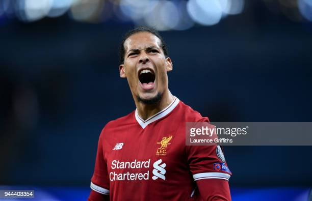 Virgil van Dijk of Liverpool celebrates his sides victory after the UEFA Champions League Quarter Final Second Leg match between Manchester City and...