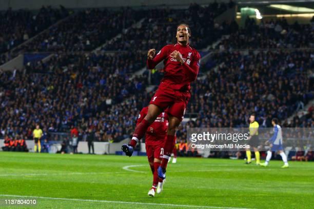 Virgil van Dijk of Liverpool celebrates scoring his side's fourth goal during the UEFA Champions League Quarter Final second leg match between Porto...