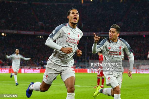 Virgil van Dijk of Liverpool celebrates scoring his side's second goal during the UEFA Champions League Round of 16 Second Leg match between FC...
