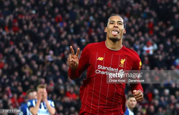 Virgil Van Dijk of Liverpool celebrates scoring his teams second goal during the Premier League match between Liverpool FC and Brighton & Hove Albion...