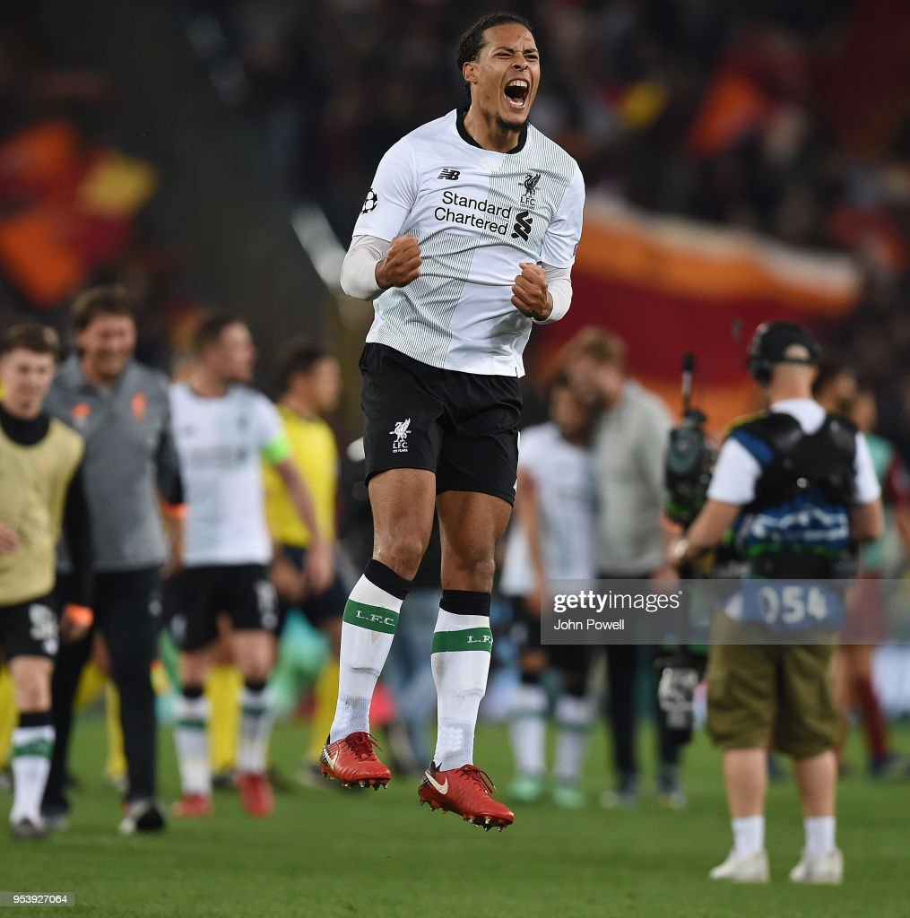 Virgil van Dijk of Liverpool celebrates the victory at the end of the UEFA Champions League Semi Final Second Leg match between A.S. Roma and Liverpool at Stadio Olimpico on May 2, 2018 in Rome, Italy.