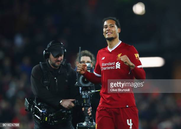 Virgil van Dijk of Liverpool celebrates victory after the Emirates FA Cup Third Round match between Liverpool and Everton at Anfield on January 5...