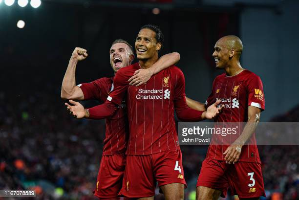 Virgil van Dijk of Liverpool celebrating after scoring a goal during the Premier League match between Liverpool FC and Norwich City at Anfield on...