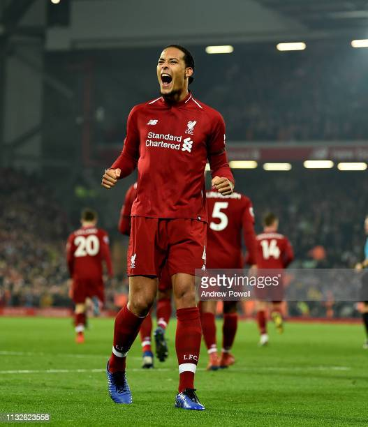 Virgil Van Dijk of Liverpool celerbrates the forth goal during the Premier League match between Liverpool FC and Watford FC at Anfield on February 27...