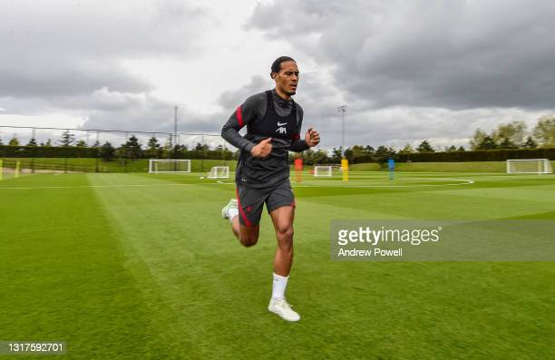 Virgil van Dijk of Liverpool during a rehabilitation training session at AXA Training Centre on May 12, 2021 in Kirkby, England.