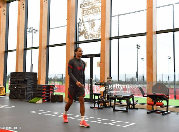 Virgil van Dijk of Liverpool during a training session at AXA Training Centre on December 04, 2020 in Kirkby, England.