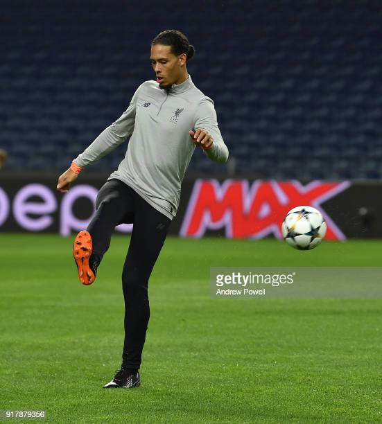 Virgil van Dijk of Liverpool during a training session at Estadio do Dragao on February 13 2018 in Porto Portugal