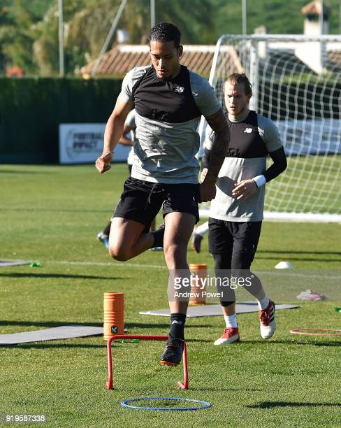 Virgil van Dijk of Liverpool during a training session at Marbella Football Center on February 17 2018 in Marbella Spain