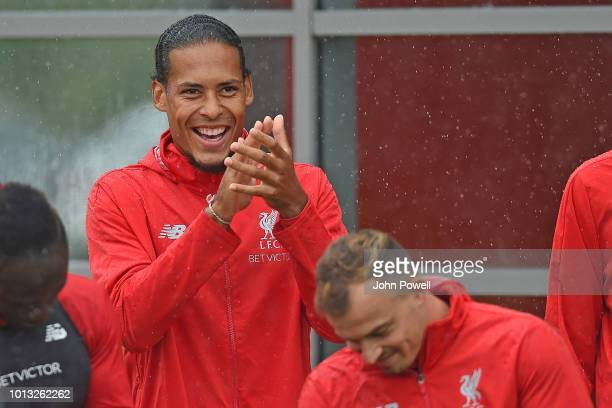 Virgil van Dijk of Liverpool during a training session at Melwood Training Ground on August 8 2018 in Liverpool England