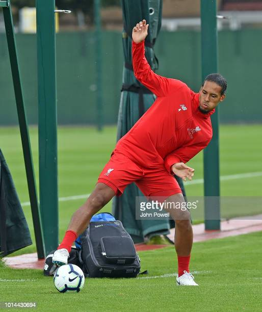 Virgil van Dijk of Liverpool during a training session at Melwood Training Ground on August 10 2018 in Liverpool England