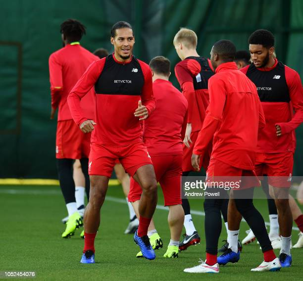 Virgil van Dijk of Liverpool during a training session at Melwood Training Ground on October 18 2018 in Liverpool England