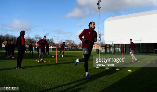 Virgil van Dijk of Liverpool during a training session at Melwood training ground on February 18 2019 in Liverpool England