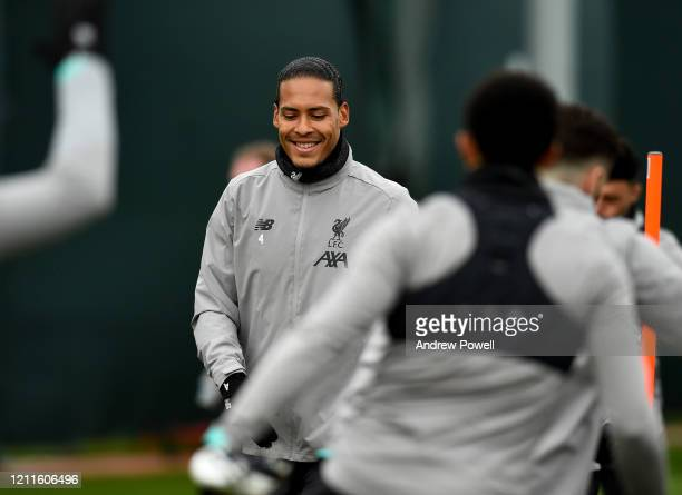 Virgil van Dijk of Liverpool during a training session at Melwood training ground on March 10 2020 in Liverpool United Kingdom Liverpool FC will face...