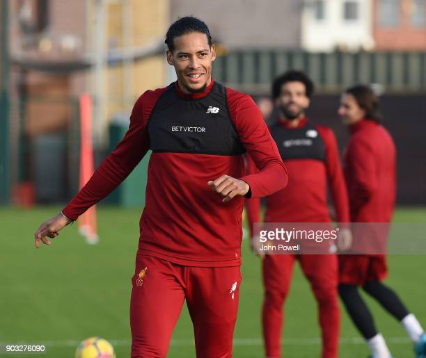Virgil van Dijk of Liverpool during a training session at Melwood Training Ground on January 10 2018 in Liverpool England