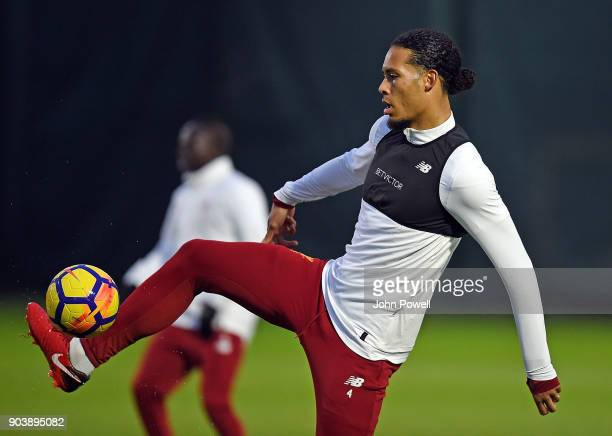 Virgil van Dijk of Liverpool during a training session at Melwood Training Ground on January 11 2018 in Liverpool England