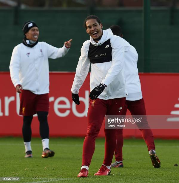Virgil van Dijk of Liverpool during a training session at Melwood Training Ground on January 18 2018 in Liverpool England