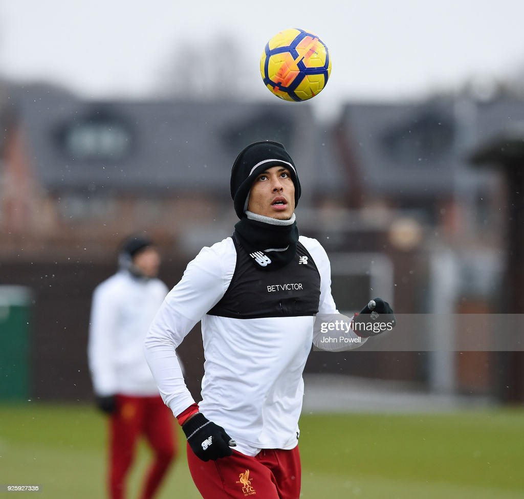 Virgil van Dijk of Liverpool during a training session at Melwood Training Ground on March 1, 2018 in Liverpool, England.