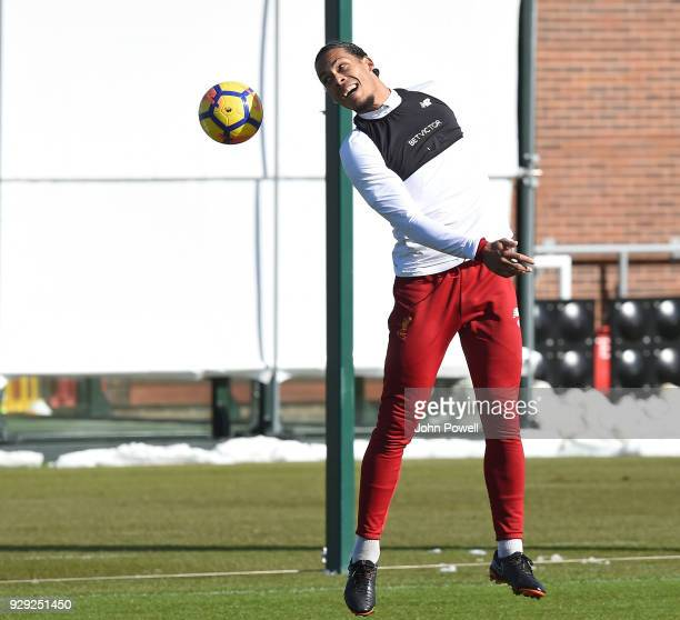 Virgil van Dijk of Liverpool during a training session at Melwood Training Ground on March 8 2018 in Liverpool England