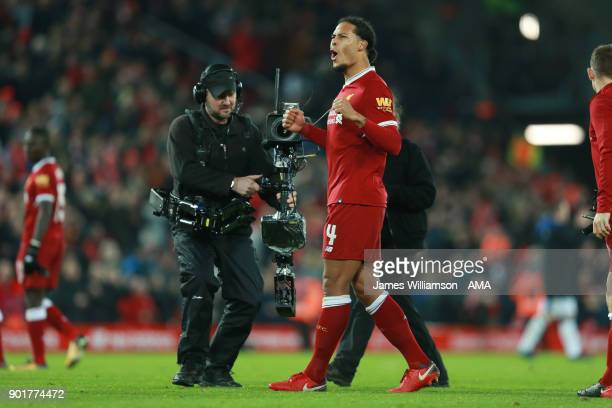 Virgil van Dijk of Liverpool during The Emirates FA Cup Third Round match between Liverpool and Everton at Anfield on January 5 2018 in Liverpool...