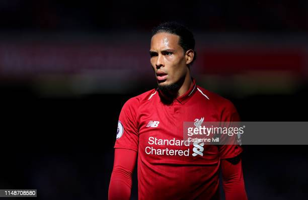 Virgil van Dijk of Liverpool during the Premier League match between Liverpool FC and Wolverhampton Wanderers at Anfield on May 12 2019 in Liverpool...