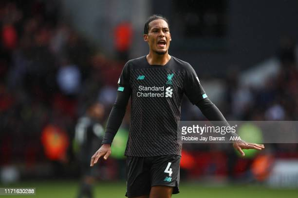 Virgil Van Dijk of Liverpool during the Premier League match between Sheffield United and Liverpool FC at Bramall Lane on September 28, 2019 in...