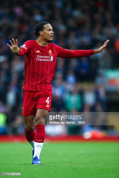 Virgil Van Dijk of Liverpool during the Premier League match between Liverpool FC and Leicester City at Anfield on October 5 2019 in Liverpool United...