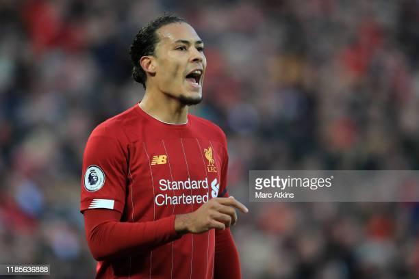 Virgil van Dijk of Liverpool during the Premier League match between Liverpool FC and Brighton Hove Albion at Anfield on November 30 2019 in...