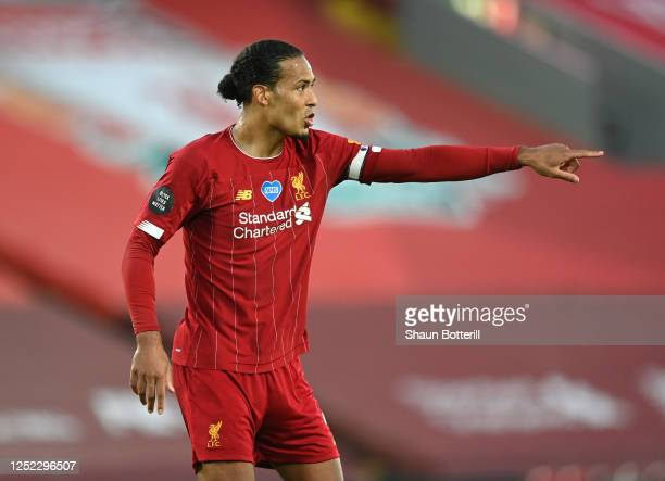 Virgil van Dijk of Liverpool during the Premier League match between Liverpool FC and Crystal Palace at Anfield on June 24 2020 in Liverpool England