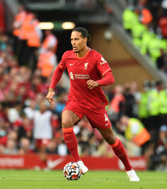 Virgil van Dijk of Liverpool during the Premier League match between Liverpool and Chelsea at Anfield on August 28, 2021 in Liverpool, England.
