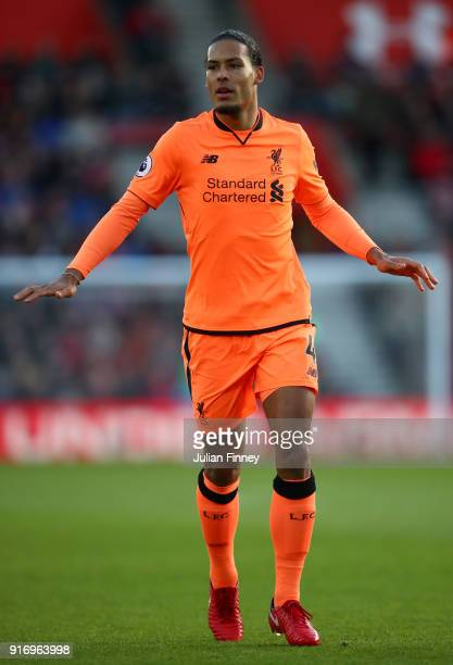 Virgil van Dijk of Liverpool during the Premier League match between Southampton and Liverpool at St Mary's Stadium on February 11 2018 in...