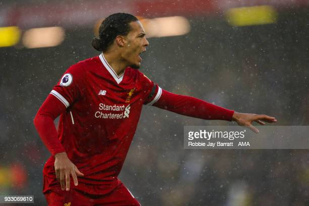 Virgil van Dijk of Liverpool during the Premier League match between Liverpool and Watford at Anfield on March 17 2018 in Liverpool England