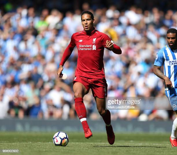 Virgil van Dijk of Liverpool during the Premier League match between Liverpool and Brighton and Hove Albion at Anfield on May 13 2018 in Liverpool...