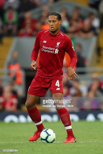 Virgil van Dijk of Liverpool during the preseason friendly between Liverpool and Torino at Anfield on August 7 2018 in Liverpool England