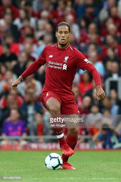 Virgil van Dijk of Liverpool during the preseason friendly match between Liverpool and Torino at Anfield on August 7 2018 in Liverpool England
