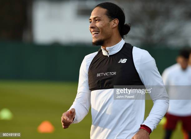 Virgil van Dijk of Liverpool during the training session at Melwood Training Ground on March 15 2018 in Liverpool England