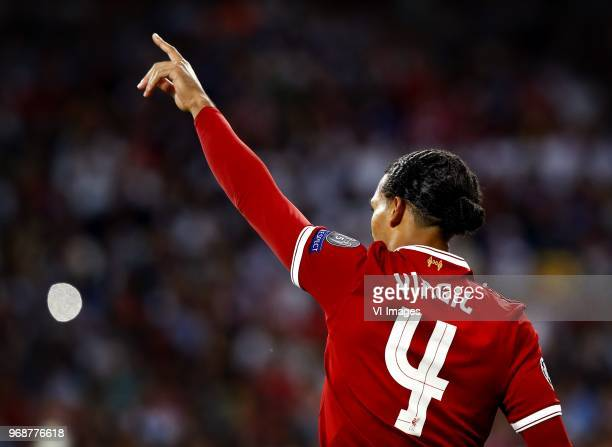 Virgil van Dijk of Liverpool during the UEFA Champions League final between Real Madrid and Liverpool on May 26 2018 at NSC Olimpiyskiy Stadium in...