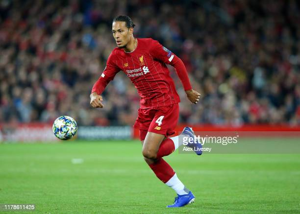 Virgil van Dijk of Liverpool during the UEFA Champions League group E match between Liverpool FC and RB Salzburg at Anfield on October 02 2019 in...