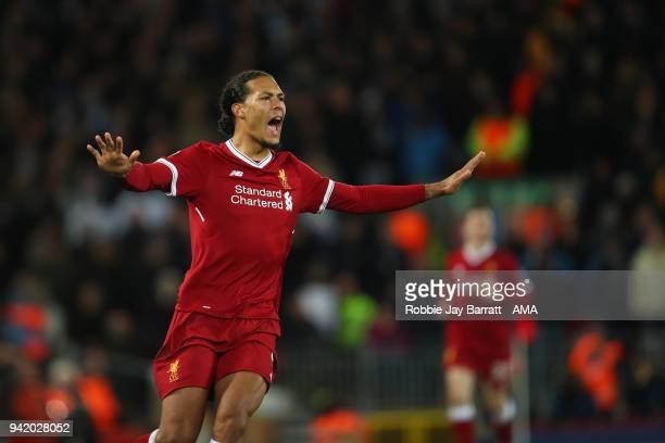 Virgil van Dijk of Liverpool during the UEFA Champions League Quarter Final first leg match between Liverpool and Manchester City at Anfield on April...