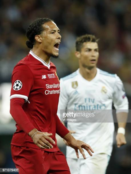 Virgil van Dijk of Liverpool FC Cristiano Ronaldo of Real Madrid during the UEFA Champions League final between Real Madrid and Liverpool on May 26...