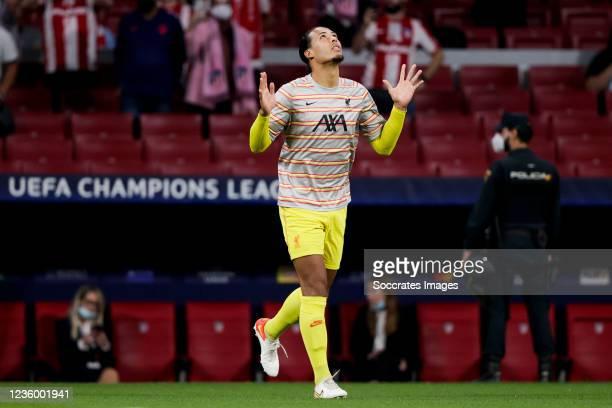 Virgil van Dijk of Liverpool FC during the UEFA Champions League match between Atletico Madrid v Liverpool at the Estadio Wanda Metropolitano on...