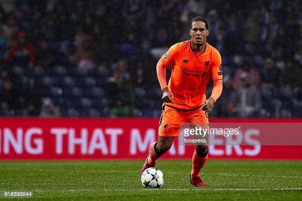 Virgil Van Dijk of Liverpool FC in action during the UEFA Champions League Round of 16 First Leg match between FC Porto and Liverpool FC at Estadio...