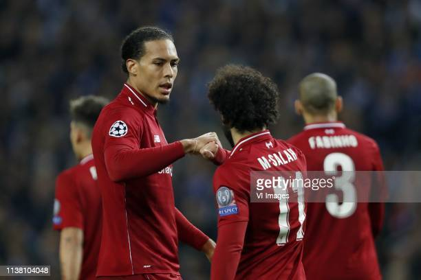 Virgil van Dijk of Liverpool FC Mo Salah of Liverpool FC Fabinho of Liverpool FC during the UEFA Champions League quarter final match between FC...