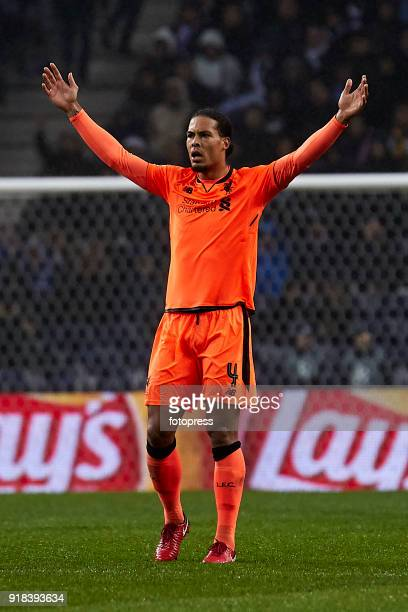 Virgil Van Dijk of Liverpool FC reactsduring the UEFA Champions League Round of 16 First Leg match between FC Porto and Liverpool FC at Estadio do...
