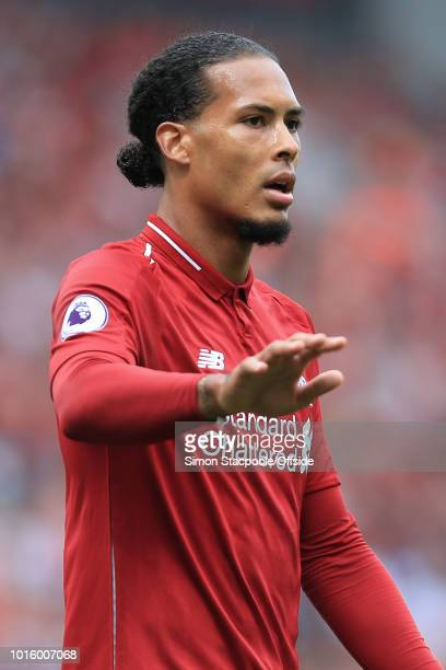 Virgil van Dijk of Liverpool gestures during the Premier League match between Liverpool and West Ham United at Anfield on August 12 2018 in Liverpool...