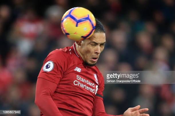 Virgil van Dijk of Liverpool gets a header in during the Premier League match between Liverpool and Crystal Palace at Anfield on January 19 2019 in...