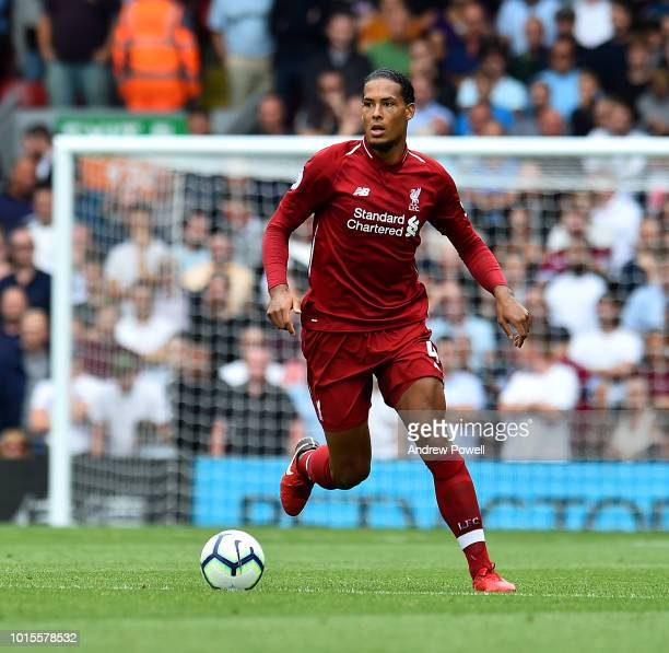 Virgil van Dijk of Liverpool has his shot saved during the Premier League match between Liverpool FC and West Ham United at Anfield on August 12 2018...