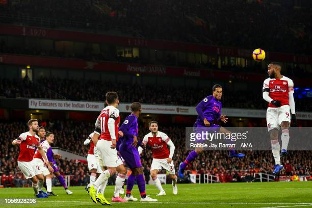 Virgil van Dijk of Liverpool heads towards goal during the Premier League match between Arsenal FC and Liverpool FC at Emirates Stadium on November 3...