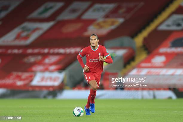 Virgil van Dijk of Liverpool in action during the Carabao Cup Fourth Round match between Liverpool and Arsenal at Anfield on October 1, 2020 in...