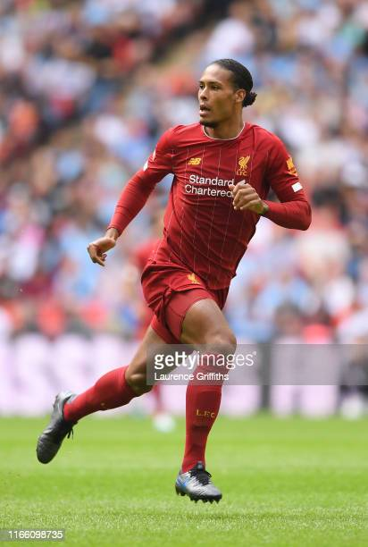 Virgil Van Dijk of Liverpool in action during the FA Community Shield match between Manchester City and Liverpool at Wembley Stadium on August 04...
